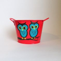 Red and Turquoise Owl Tin - Perfect for an Owl Theme Nursery - or child's room!
