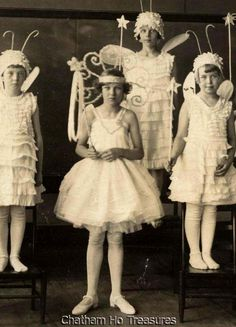 1920s Vintage Photo Little Girl Butterflies Angels Fairies Dressed in White…