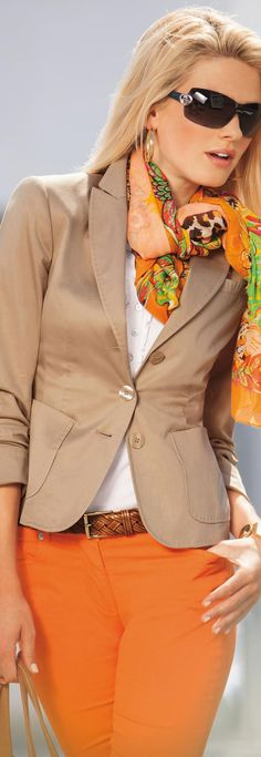 Clear orange tones with beige/camel creates cheerful style for the Spring Woman. -Madeleine Blazer