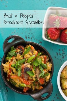 Brat & Pepper Breakfast Scramble - Perfect for Father's Day! A ballpark-inspired egg scramble featuring grilled brats, peppers, onions and cheddar cheese! | foxeslovelemons.com