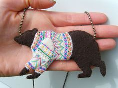 Felt Necklace - Brown Bear in a Fancy Sweater - One of a Kind