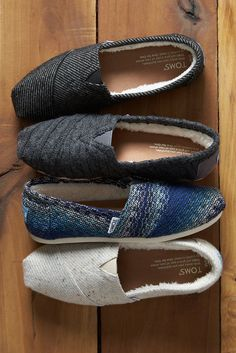 Now you can enjoy sweater weather from head to toe in TOMS wool and faux shearling slip-on shoes.