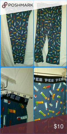 """PEZ Candy Dispenser Lounge Pants PEZ Candy Dispenser lounge pants with 2 side seam pockets, front fly, and stretch waistband. Tag has been removed, the waist measures 18.75"""" across flat. Soft knit fabric. Good used condition. PEZ Pants"""