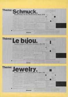 Poster, Theme: Jewelry Special Exhibition at the Swiss Industrie Fair, Basel, 1976 Apple Computer, Der Computer, Wolfgang Weingart, Armin Hofmann, Independent Student, Teaching Positions, Summer Courses, Plakat Design, Journals