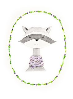 raccoon watercolor PRINT  -  nursery artwork - woodland creatures - boho - thistle - animal portrait