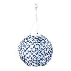 SOLVINDEN Solarhängeleuchte, LED, Kugel blau/weiß 30 cm Kugel blau/weiß