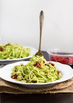 Spinach and Broccoli Pesto Spaghetti  To make this #vegan, skip the parmesan cheese and sub in your favorite meat-free protein.
