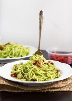Spinach and Broccoli Pesto Spaghetti
