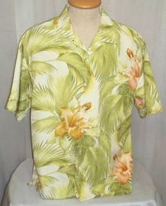 Tommy Bahama Hawaiian Shirt Large Palm Fronds Hibiscus Silk Hawaii Mens Camp  Palm Fronds 2c8ee65ec