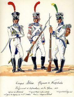 Ufficiale e sergente dei granatieri e sergente dei fucilieri di un rgt. di fanteria del regno di Westfalia