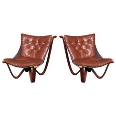 Spider Sling Chairs By Sigurd Ressell, Pair, Rare! | From a unique collection of antique and modern club chairs at https://www.1stdibs.com/furniture/seating/club-chairs/