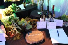 Auction tables were landscaped with fresh moss, rocks, cedar and succulents which add a fresh look to the wine offerings with each grape noted on custom cuts of wood.
