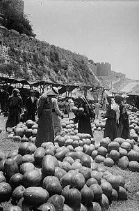 Palestine, Jerusalem, Watermelon market