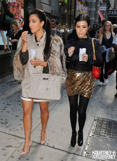 kardashians - love the gold skirt and Kourtneys whole outfit
