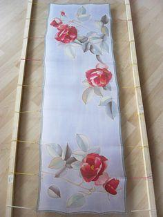 Silk scarf hand painted Wedding accessory Bridal Red by DEsilk