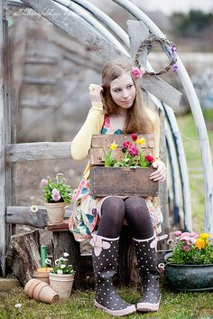 spring - flowers and totally adorable garden boots with polka dots and pink bows! Makes my heart smile.