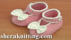 Crochet Button Buckle Bow Shoes Tutorial 37 Part 1 of 2 Zapatitos Para Bebe  http://sheruknitting.com/sherufashion/crochet-and-knitting-clothes/item/758-crochet-shoes-for-baby-tutorial-37-part-1-of-2.html  I will show you how to crochet button buckle bow shoes for a little baby girl.