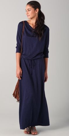Lanston Boyfriend Maxi Dress-kinda like it, kinda hate it...who would this actually look good on?, it looks like it could be cute, love navy