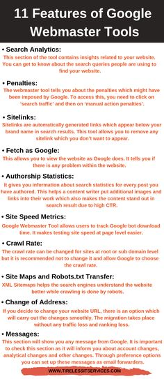 Google Webmaster Tools is free of cost service that helps you maintain and evaluate the performance of the website. It is now also known as Google Search Console. Google Webmaster Tools of these features are mentioned below. #infographic #googlewebmaster #webmaster #seo #searchengineoptimization #webmastertools #googleadwords #googlesearchconsole #seotips #seostrategy #seoranking #googlecrawlers #socialmedia #digitalagency Webmaster Tools, Seo Ranking, Seo Strategy, Seo Tips, Search Engine Optimization, Web Development, Console, Digital Marketing, Insight
