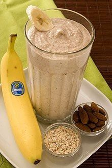2 whole Chiquita Bananas (best with brown flecks on peel)  2 cups Ice  1/3 cup Yogurt – preferably Greek yogurt flavored with honey  1/2 cup Cooked oatmeal  1/3 cup Almonds  Pour all ingredients in blender pouring ice in last. Blend on high for 30 seconds or until smoothie thickens.
