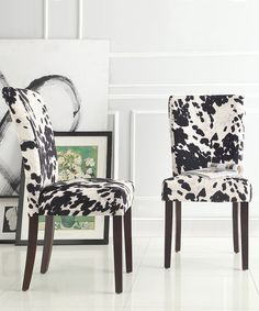 Look what I found on #zulily! HomeBelle Black Cowhide Durham Parson Dining Chair - Set of Two by HomeBelle #zulilyfinds