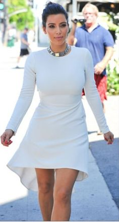 Long sleeve monochromatic dress; accent jewelry