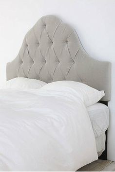 Velvet Tufted Headboard - Light Grey