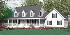 """House Plan 2341-A MONTGOMERY """"A"""" elevation. Traditional 1-1/2-story house plan with 5 bedrooms and 2-1/2 baths. Two-story Foyer. Master Suite downstairs, with four bedrooms upstairs."""