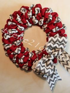 Red Striped and Chevron Wreath Ohio State by Ohio State Wreath, Chevron Wreath, Diy Wreath, Red Stripes, Patriots, 4th Of July Wreath, Holiday Decor, Holiday Ideas, Alabama