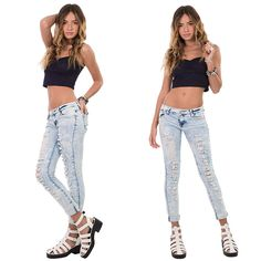Ripped denim jeans are a hot summer look. Try the trend in acid wash, just £8.99 x http://hiddenfashion.com/new-in/new-in-clothing/mid-rise-acid-wash-distressed-frayed-denim-jeans-45261.html #summer #holiday #style #styleoftheday #jeans #90s #musthave #ootd #wiwt #new #newarrival #look #trend #fashion #hiddenfashion