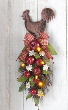 Rooster & Apple Floral - It's lighted!  Perfect for a country kitchen or farmhouse theme. Love the metal topper and gingham bow