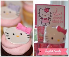 Hello Kitty Birthday Party- Cute party ideas and inspiration plus FREE PRINTABLES- invitations, favor tags, party signs, decorations, cupcake toppers Frosted Events- Hello Kitty Candy Shoppe Party - Hello Kitty Theme Party, Hello Kitty Themes, Hello Kitty Birthday, Creative Party Ideas, 6th Birthday Parties, Birthday Cake, Party Printables, Free Printables, Cat Party