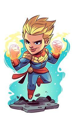 Captain Marvel Carol Danvers by Derek Laufman Marvel Comics, Chibi Marvel, Marvel Cartoons, Marvel Art, Marvel Heroes, Drawing Cartoon Characters, Character Drawing, Marvel Characters, Comic Character