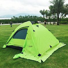 Outdoor Double layer 2 Person Camping Tent Backpack Tent for Traving Camping Climbing Hunting with Carry Bag Two Windows Fiberglass Pole Green ** For more information, visit image link.