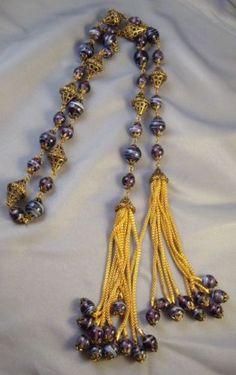 Lovely Italian Venetian Glass Bead Lariat Necklace Set w Earrings | eBay