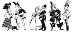 Caricatures of stars of the D'Oyly Carte Opera Company, drawn in the 1930's.  Instantly recognizable are Darryl Fancort and Martyn Green on the far right.