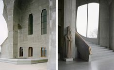 Rudolf Steiner's Goetheanum   Carvings on plinths and architraves throughout the building trace the evolutionary phases of the earth, completing Steiner's architectural manifestation of his philosophy. Photography: François Coquerel