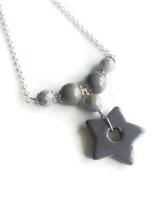 Grey Star Necklace Star Necklace Silver by Bluebirdsanddaisies