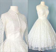 Vintage Tea Length Wedding Dress...Beautiful Creamy White 1950s Lace Tea Length Wedding Dress with Cropped Jacket  XS. $275.00, via Etsy.