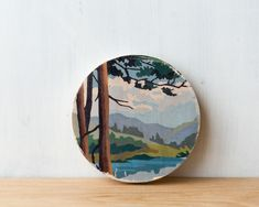 Paint by Number Circle Art Block 'Mountain View' - woodland, landscape, vintage art. $22.00, via Etsy.