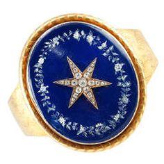 Victorian Starburst Memorial Bracelet with Blue Enamel