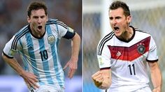 A combination of file photos shows Argentina's forward and captain Lionel Messi (L) in Rio De Janeiro on June 15, 2014 and Germany's forward Miroslav Klose in Fortaleza