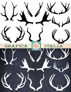 Moose, Elk and Deer Antler Set. Glitter Texture, Hirsch Tattoo, Moose Antlers, Chalkboard Art, Halloween Chalkboard, Silhouette Projects, Scrapbook Supplies, Collage Sheet, Clipart