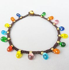 Simple Knot Anklet with Multi Colour  Glass Bead  A193
