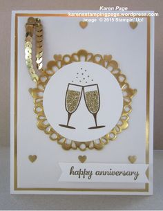 50th Wedding Anniversary card, Stampin' Up! products used: Gold Foil Sheet, Gold Sequin Trim, Gold Glimmer Paper, Metallic Doily, Happy Hour, Express Yourself