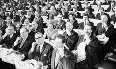 A lunch break during the Institute of Directors annual conference at the Royal Albert Hall, London in 1965.