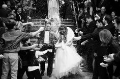 a snow throwing wedding exit at the prestonwood country cub