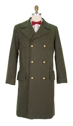 The Eleventh Doctor's Green Coat, from AbbyShot Clothiers. Created from 100-percent moleskin, this double-breasted coat features six buttons, six pockets, a banana flap and a posh Kasha lining.