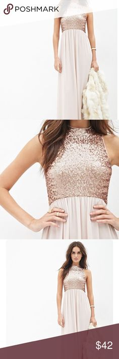 Rose gold sequin and blush chiffon formal gown M Forever 21 contemporary brand. Size 6-8 formal maxi dress. Sequin mock neck empire waist bodice. Layers of Soft flowing chiffon skirt. Light blush pink. Gorgeous modest and classy formal maxi gown. Zip back closure. Worn for a few hours. Beautiful for spring wedding, bridesmaid dress, engagement photo shoot, formal dance or gala. Gentle used condition. Bundle and save with other items for 20% discount. Looks amazing with the fur shrug in my…