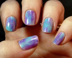 Purple and blue water colour nails. Creative Nail Designs, Creative Nails, Nail Art Designs, Mani Pedi, Pedicure, The Art Of Nails, Different Types Of Nails, Water Color Nails, Pretty Hands